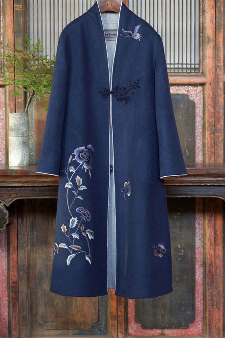 Women's Cashmere Long Coat w/ Hand Embroidered