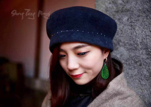Angora Wool Hat w/ Rivet Navy Blue