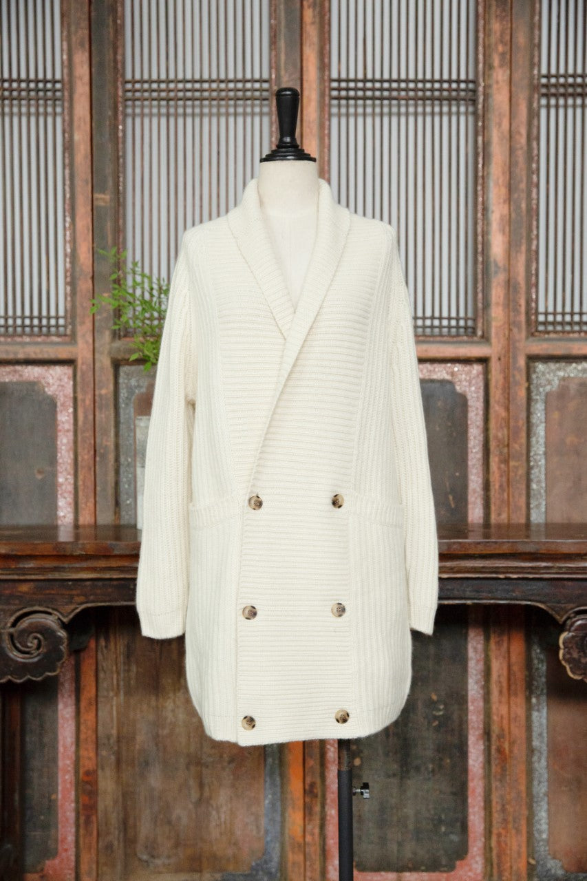 Women's Cashmere Double-Breasted Jacket White
