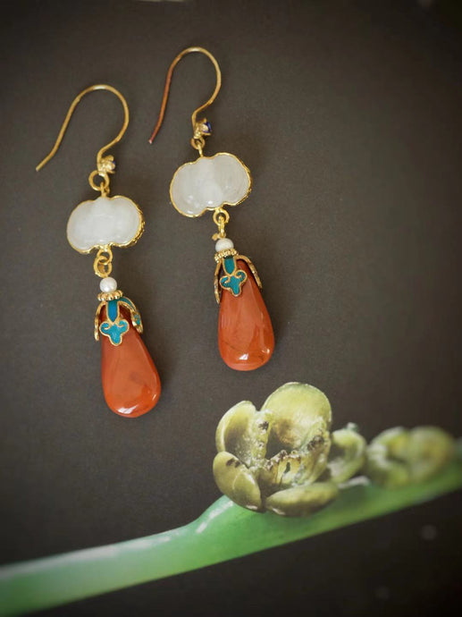 Kingfisher Earrings with White Jade & South Agate