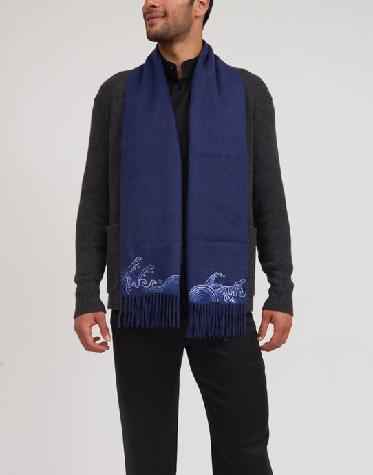 Cashmere Scarf with Hand Embroidery