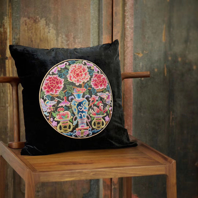 Silk Velvet Cushion Cover Peony&Vase