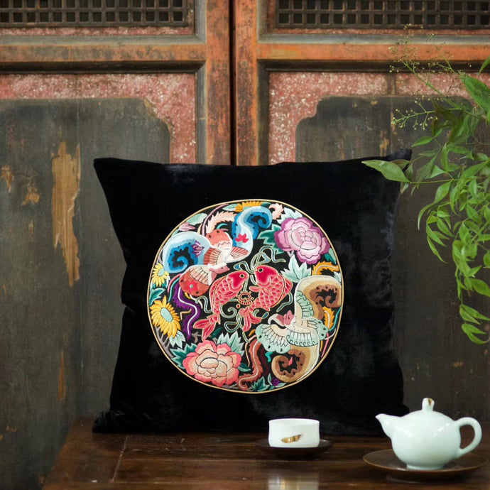 Silk Velvet Cushion Cover Koi Fish