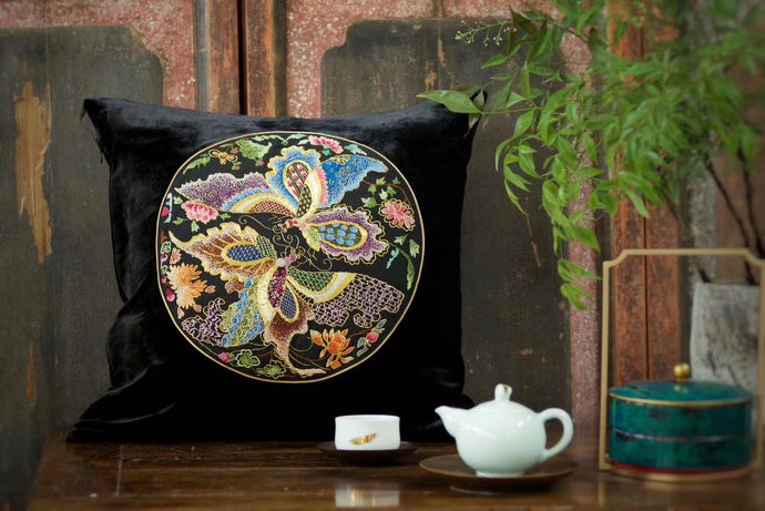 Silk Velvet Cushion Cover Bufferfly