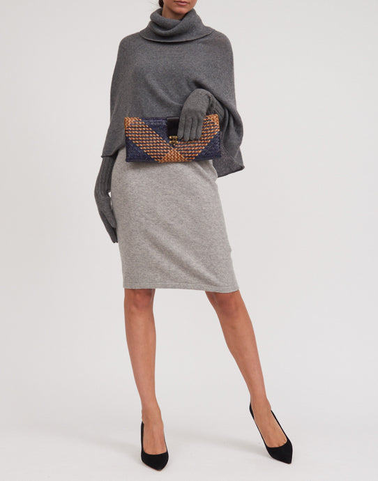 Women's Cashmere Grey Turtle Neck Cape