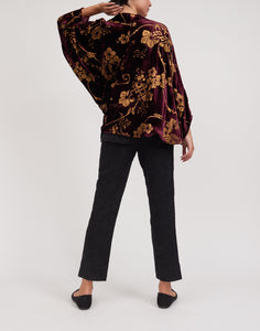 Embossed Silk Velvet Top w/ Butterfly Sleeves