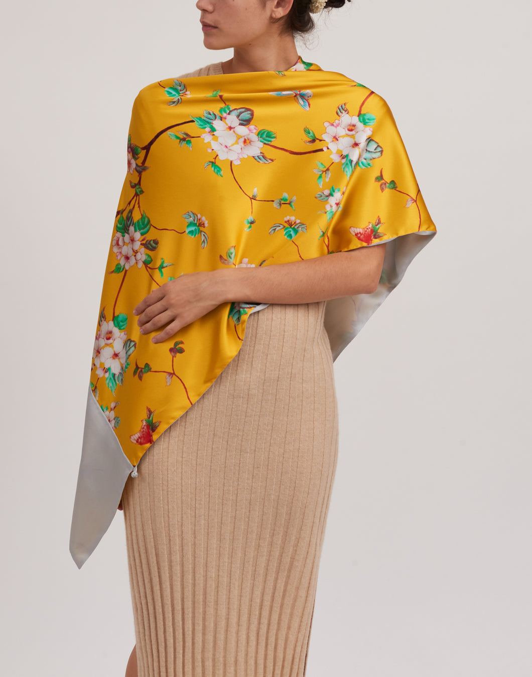 Silk Scarf Multi-Wear w/ Knotted Buttons Yellow