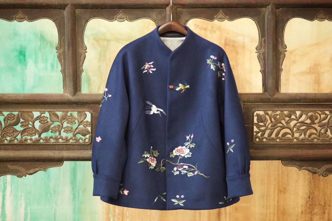 Women's Cashmere Jacket w/ Hand Embroidery Navy