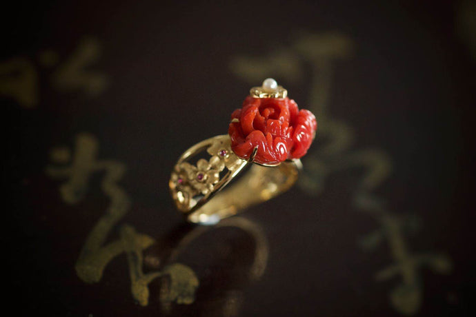 Red Coral Rose Ring