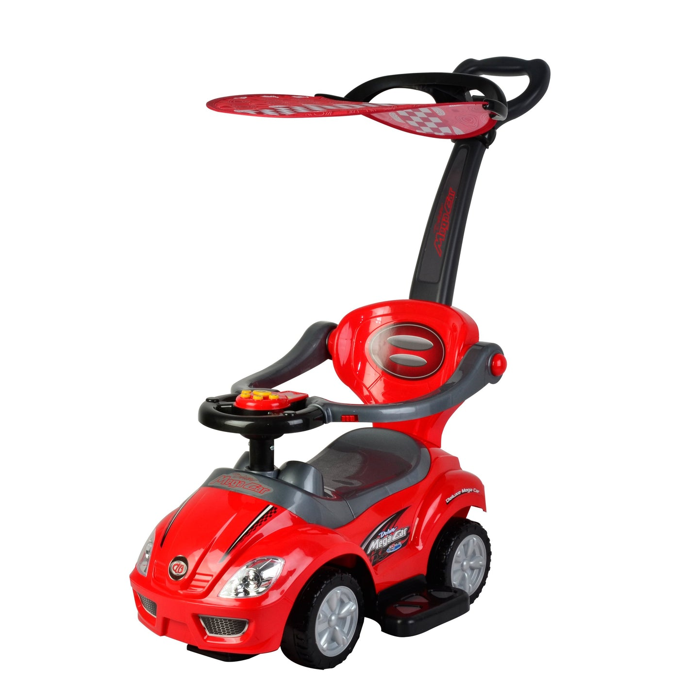 Wonder Wheels Kids 3 In 1 Ride On With Push Bar & Canopy - Red