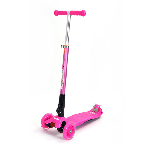 Wonder Wheels Mega GlideKick 3-Wheel Foldable Scooter With Lightup Wheels & Extendable T-Bar - Pink