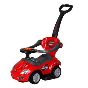 Wonder Wheels Kids 3 In 1 Ride On With Pushing Bar - Red