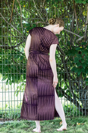 Cap Sleeve Wrap Dress • Maroon & Taupe Points