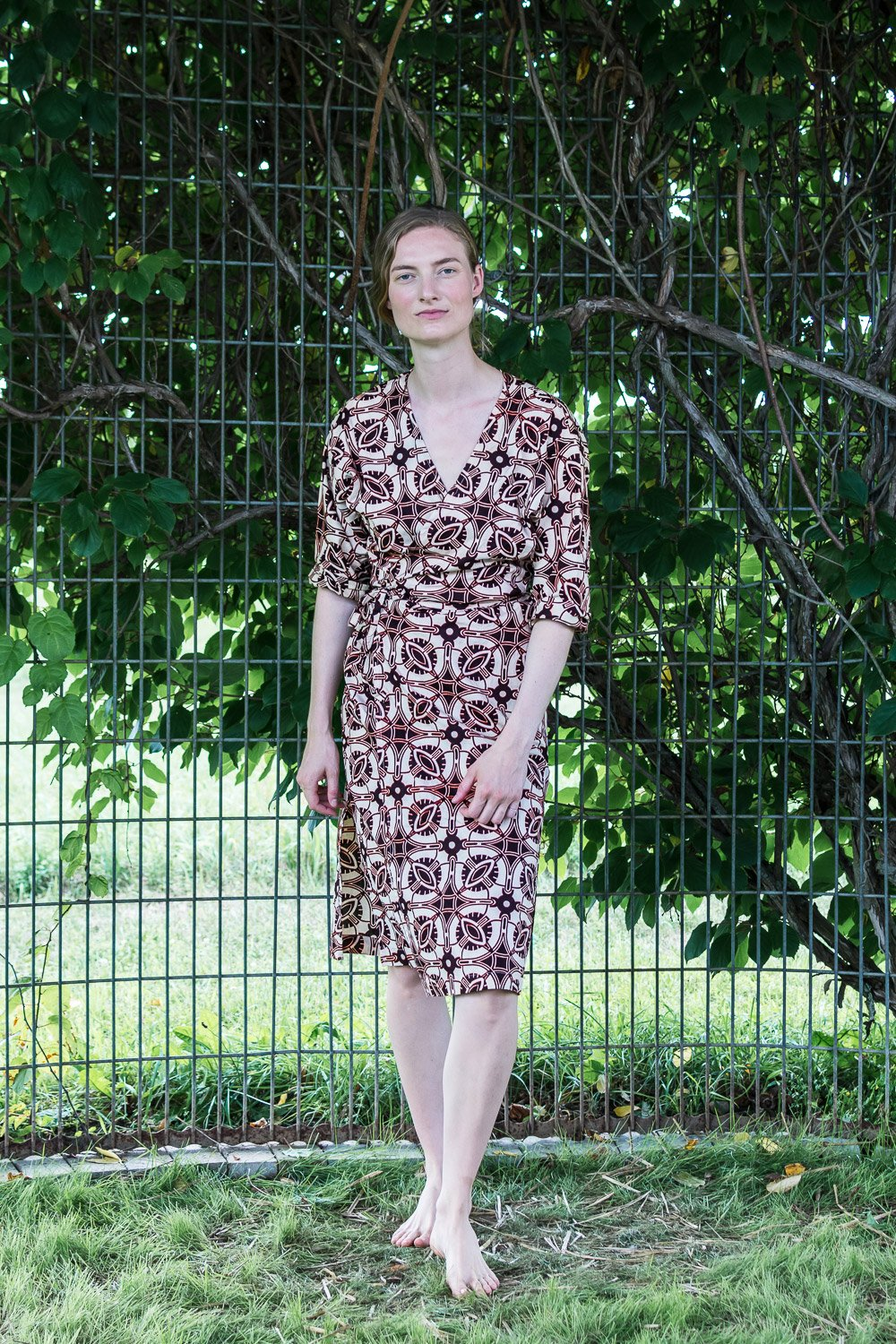 Dolman Wrap Dress • Cream w/ Maroon Geometrics