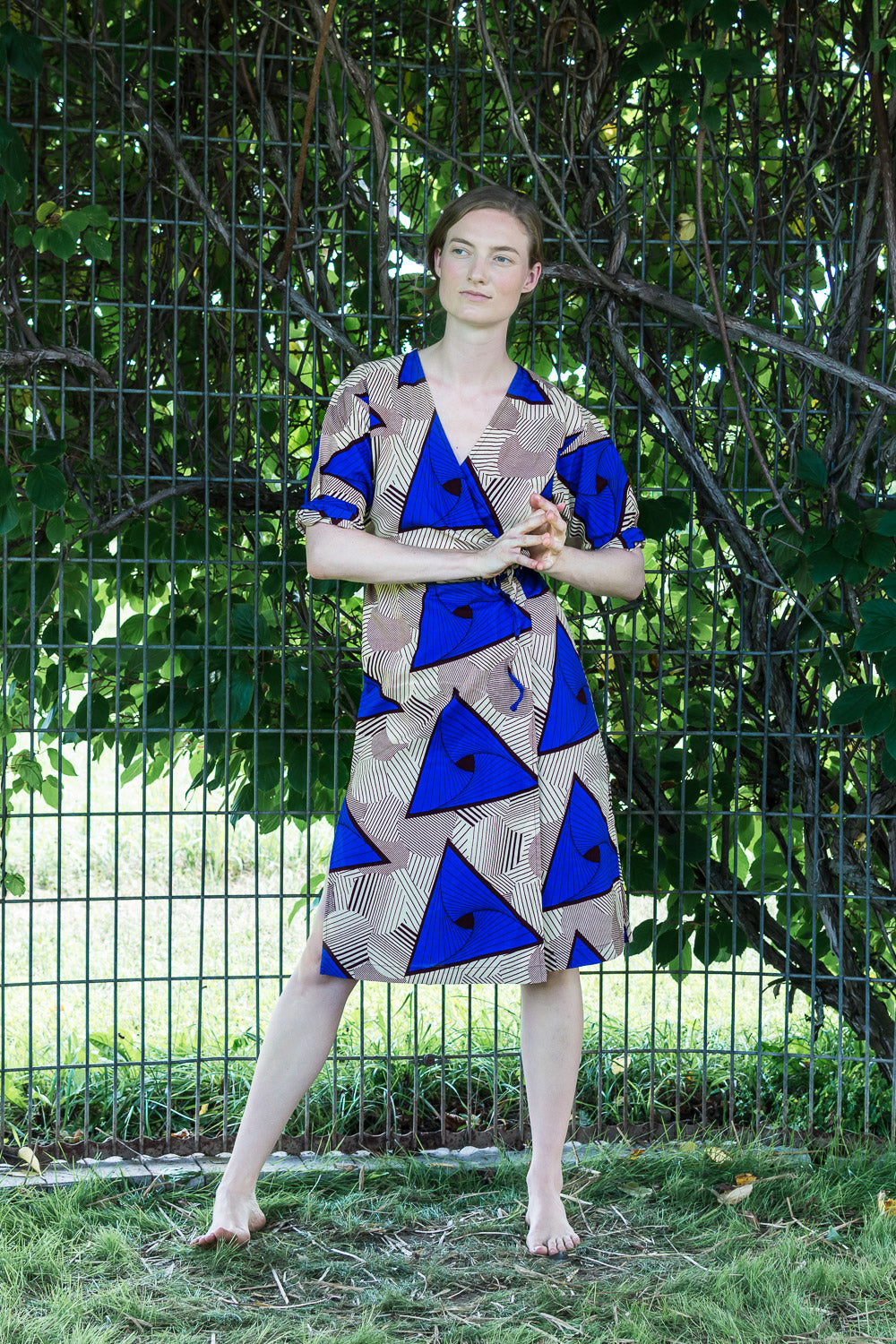 Dolman Wrap Dress • Cream with Cobalt Triangles & Maroon Geometrics