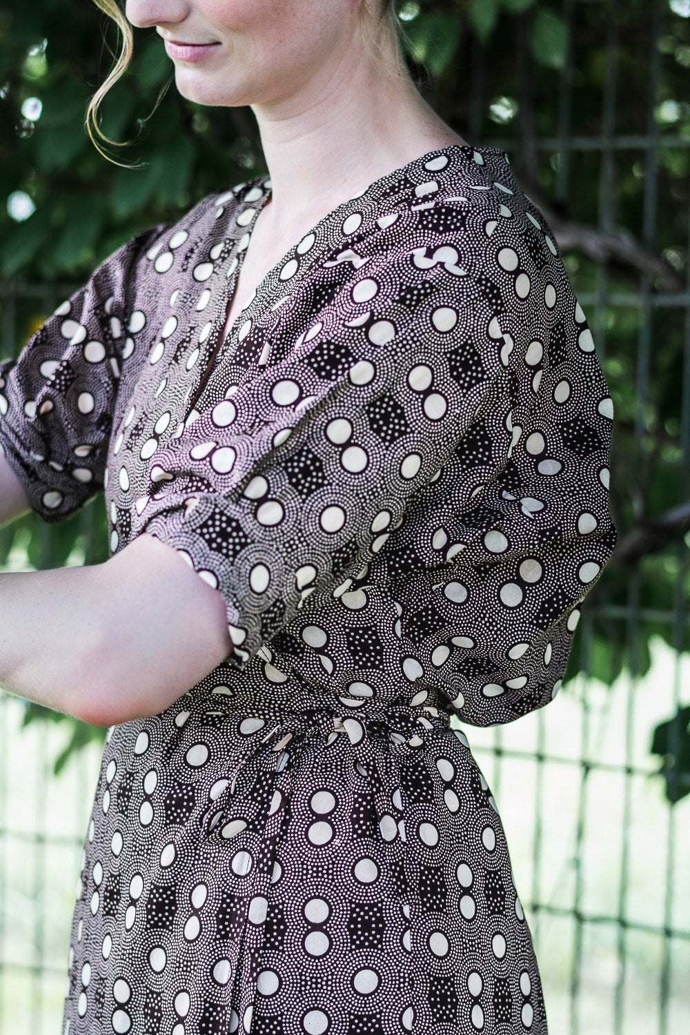 Dolman Wrap Dress • Dark Brown w/ Cream Polka Dots