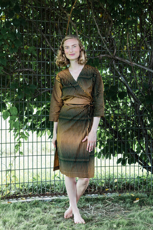 Dolman Wrap Dress • Dark Green & Khaki w/ Points