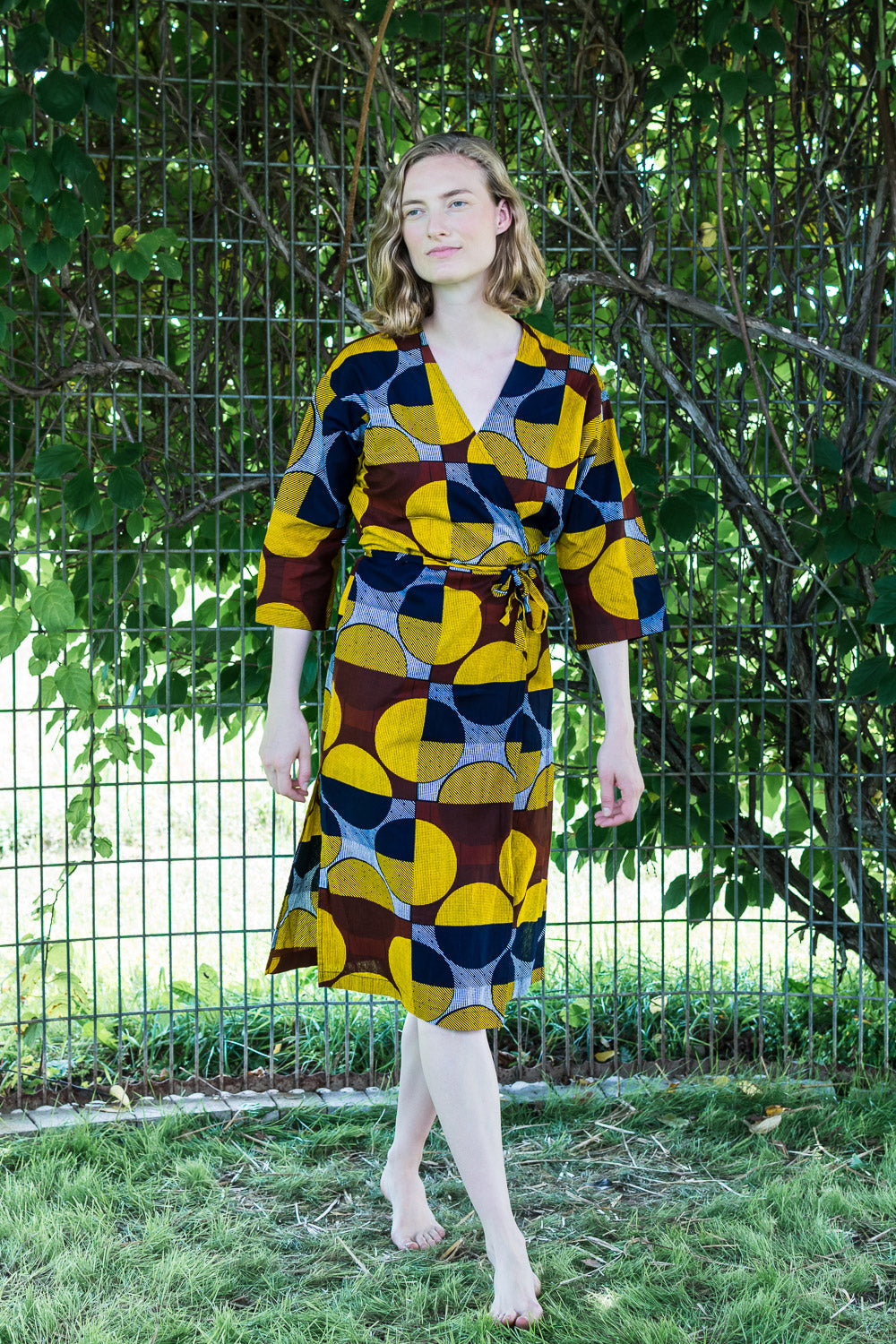 Dolman Wrap Dress • Gold, Navy, Chocolate Circles & Geometrics