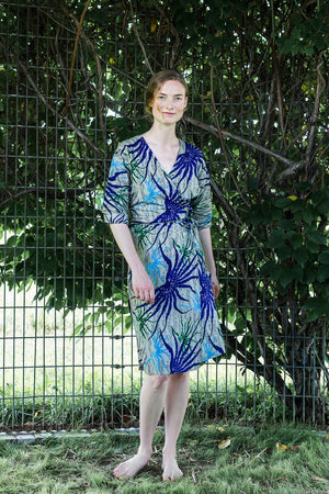 Dolman Wrap Dress • Gray w/ Purple, Blue & Green Sea ferns