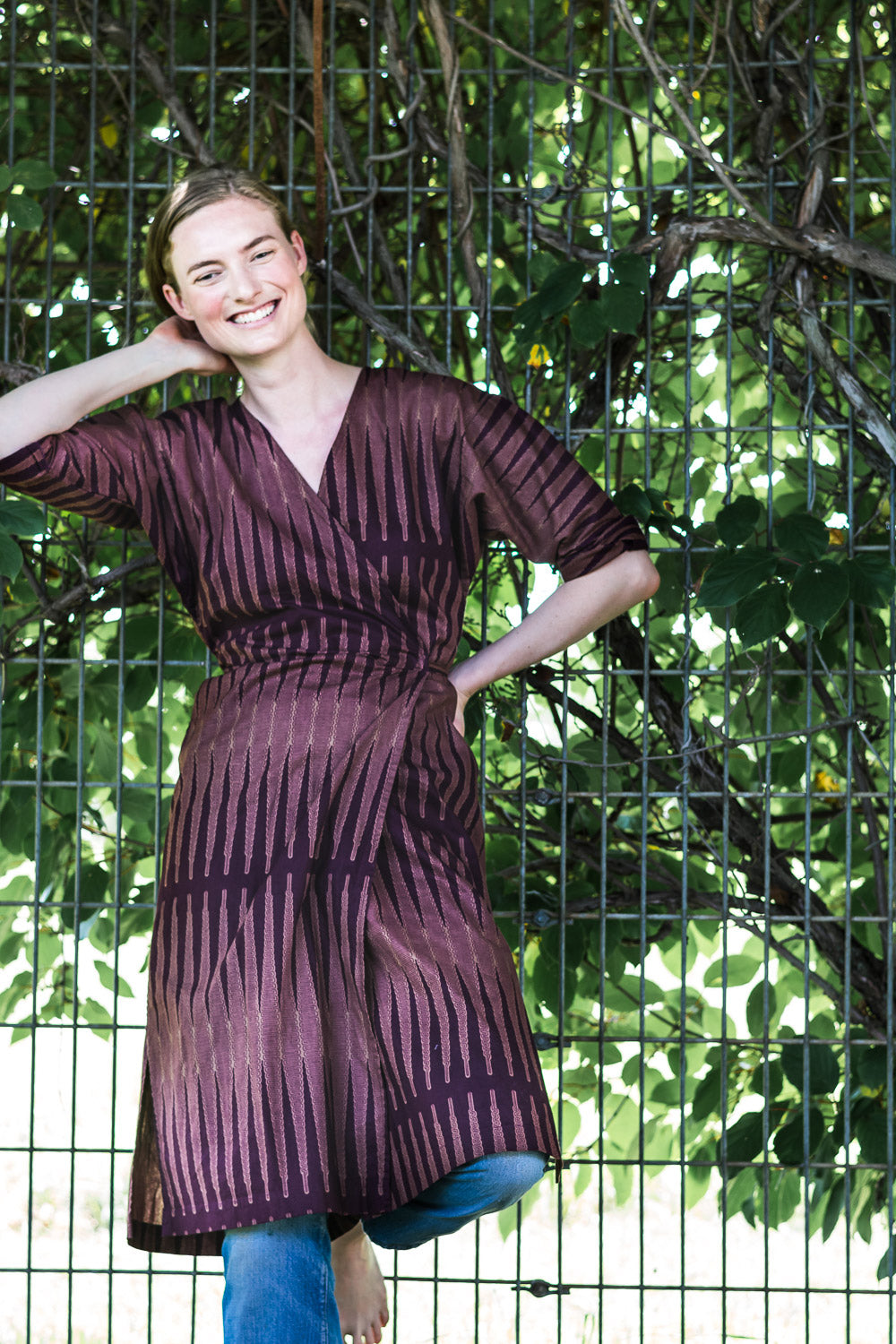 Dolman Wrap Dress • Maroon, Taupe Points