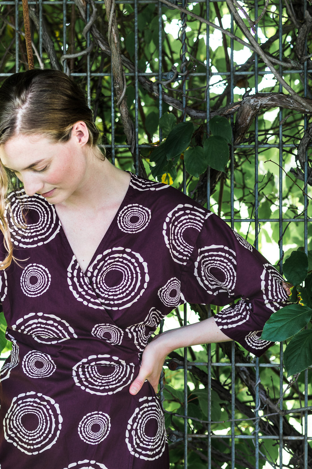 Dolman Wrap Dress • Maroon w/ Cream Concentric Circles