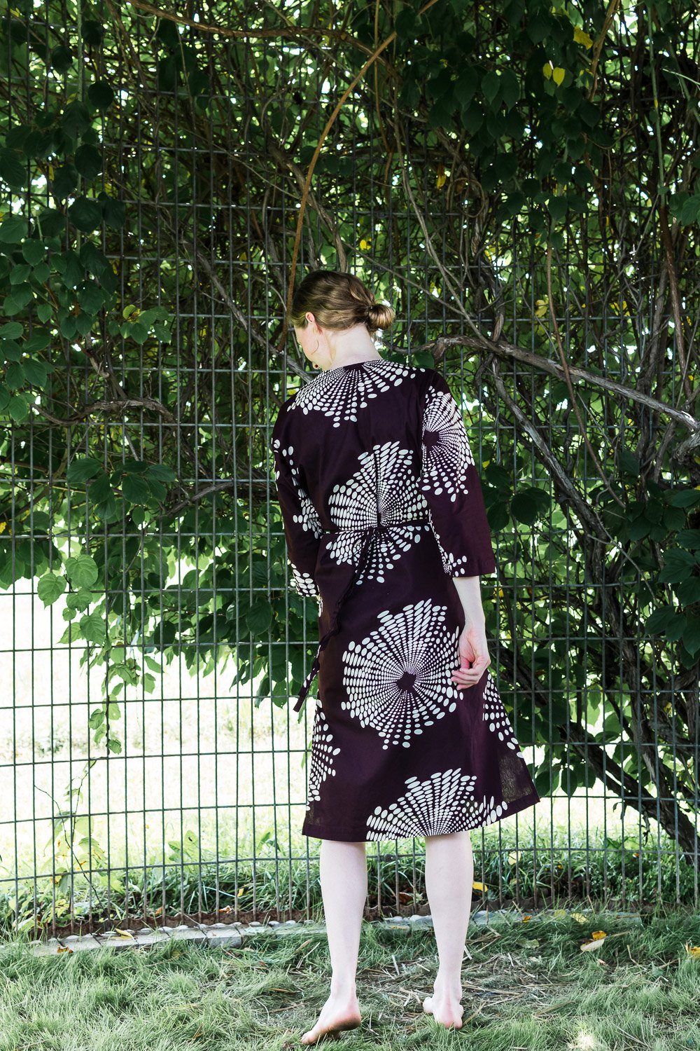 Dolman Wrap Dress • Maroon w/ Cream Fireworks