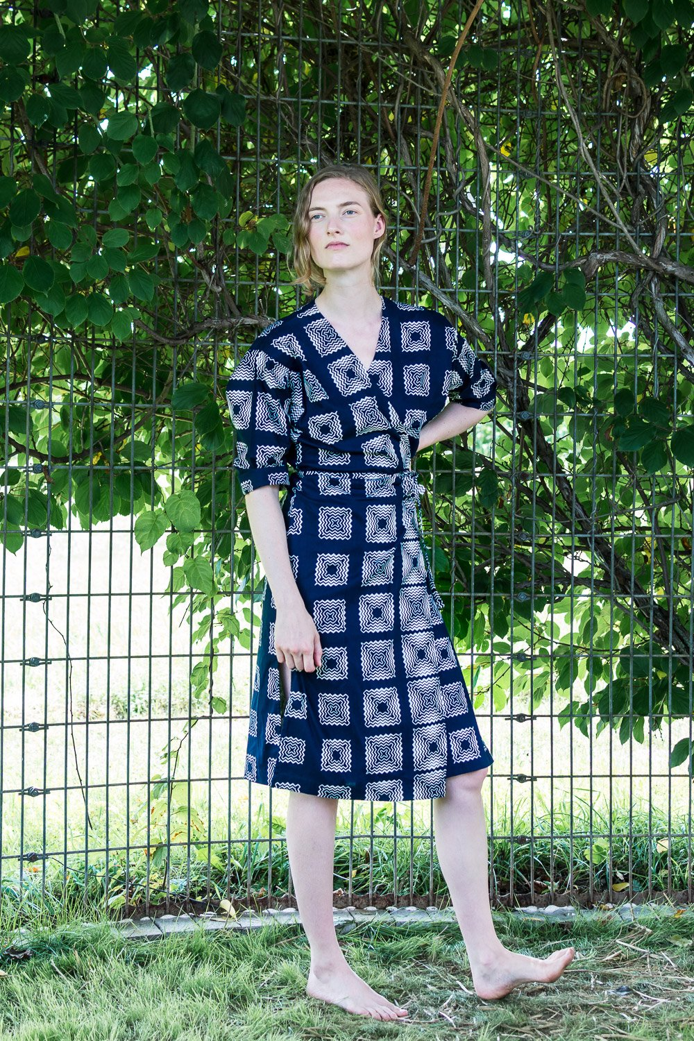 Dolman Wrap Dress • Navy w/ White Squiggle Squares