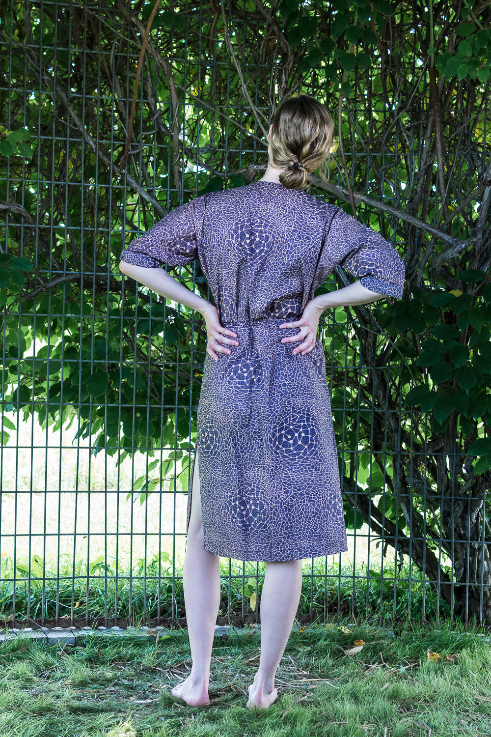 Dolman Wrap Dress • Navy and Peach Constellations
