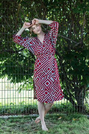 Dolman Wrap Dress • Red, Black & White Geometric