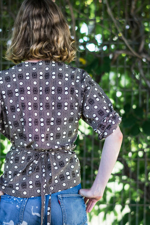 Wrap Shirt • Dark Brown w/ Cream Polka Dots