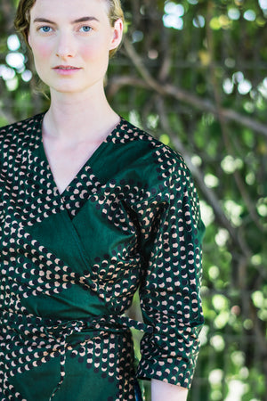 Wrap Shirt • Dark Green w/ Black & Khaki Dots