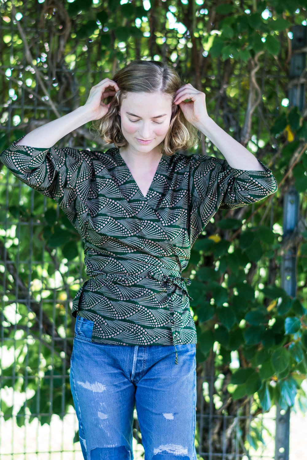 Wrap Shirt • Dark Green w/ Taupe Waterfalls