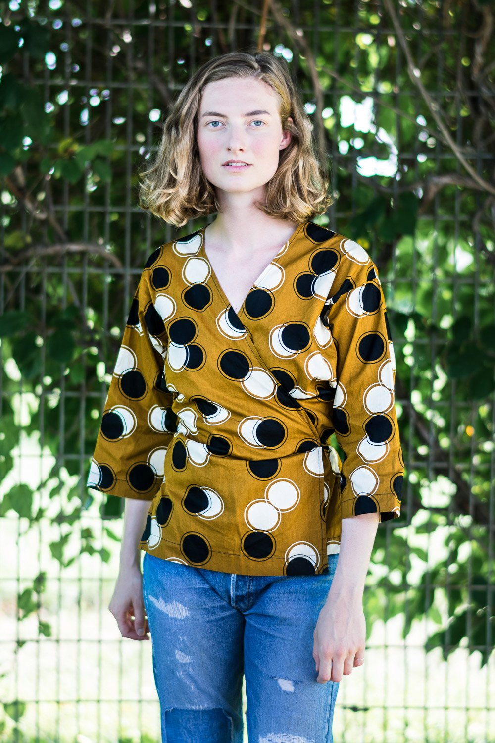 Wrap Shirt • Ochre w/ Black & Cream Circles