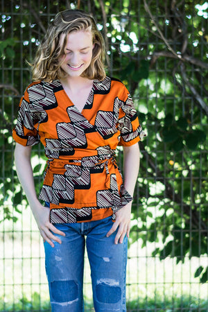 Wrap Shirt • Tangerine, Maroon, Cream & Black Geometric