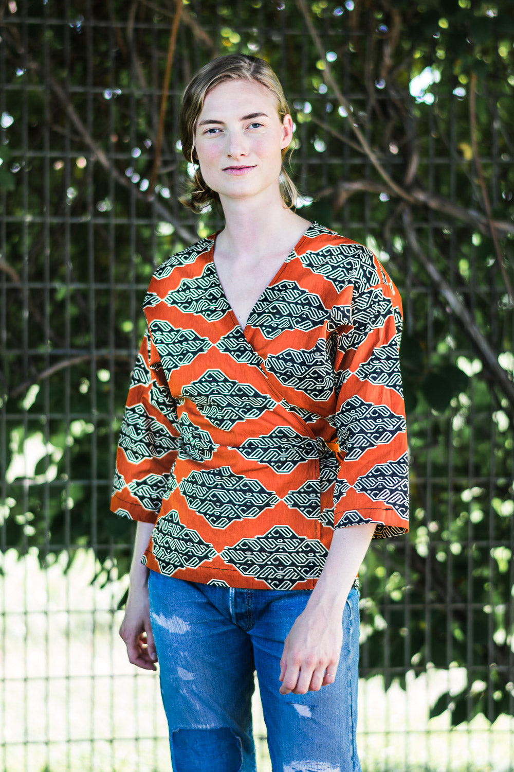Wrap Shirt • Tangerine w/ Black & Cream Geometric