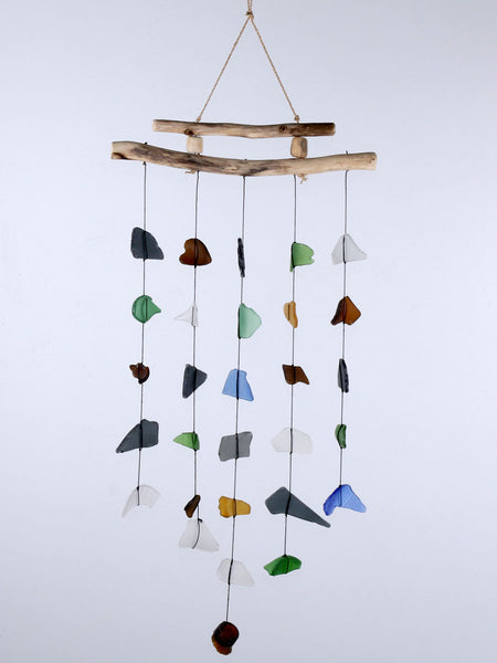 Beach glass wind chime and driftwood 5 string