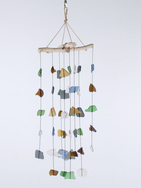 Beach glass wind chime and driftwood