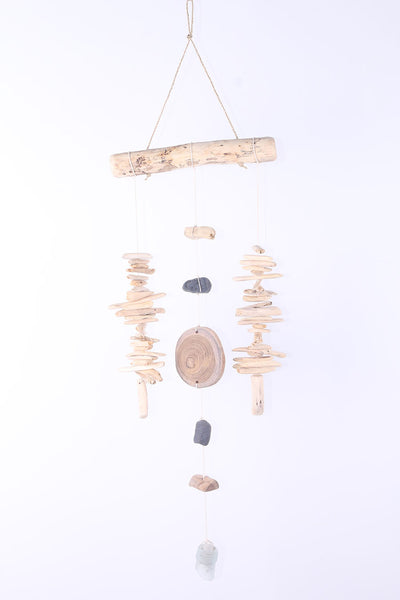 Driftwood and stone wind chime
