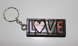 Square Wooden Key Rings (Love and Peace)