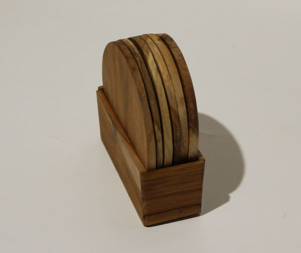 Natural wood coaster 6 in a box 10 cm