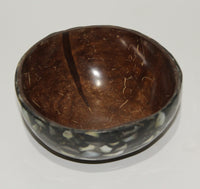 Coconut bowl with shell outside