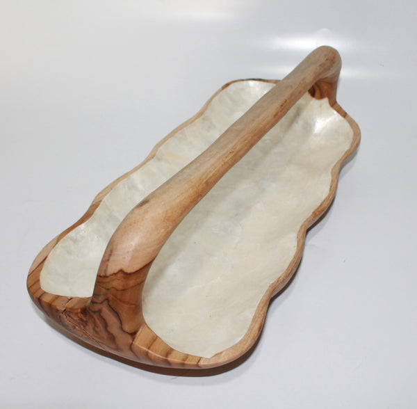 Rectangular teak-wood bowl with handle and Capiz shell inlay