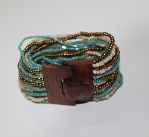 Elastic Beads Bracelet Wooden Closing
