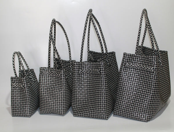 Bags from Recycled Plastic (Black / White - Medium Strap)