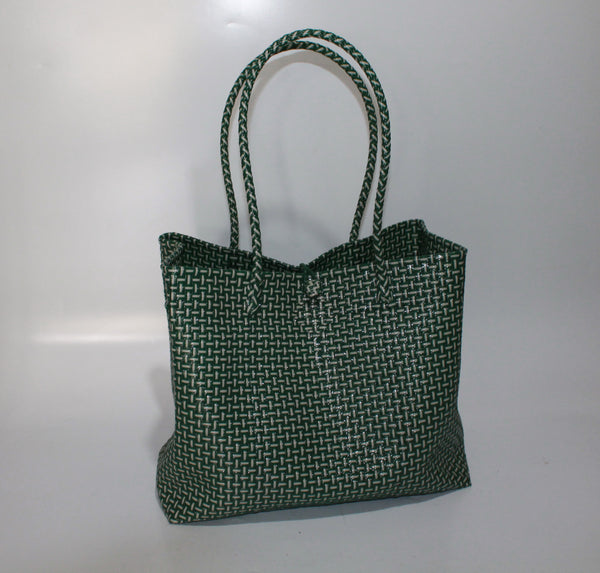 Bags from Recycled Plastic (Green / White - Medium Strap)