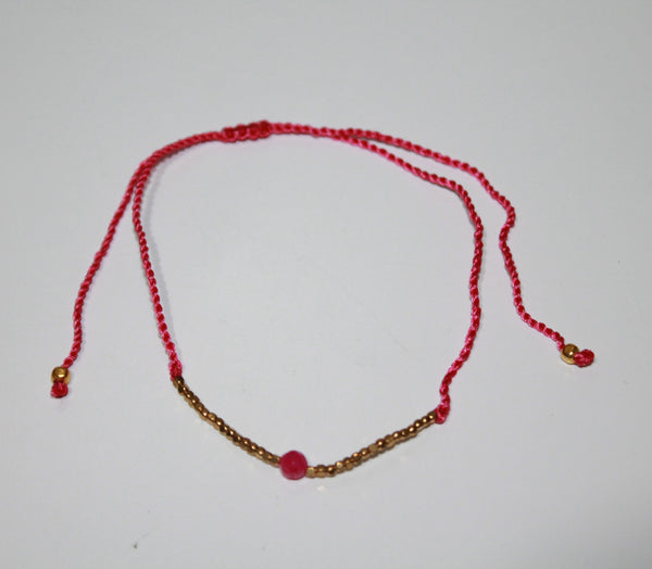 Anklet Single Stone With Metal and Beads