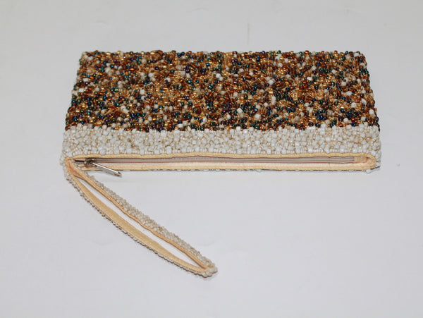 Handbag Full Beads Gold/Cream L