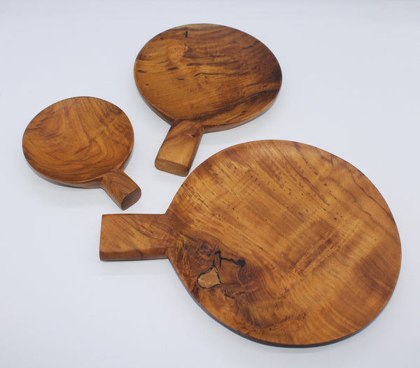 Serving Plate with Handle as Set of 3 (Teak)