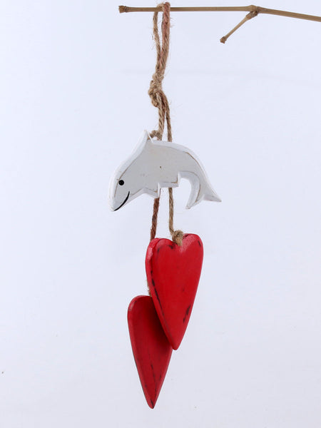 Hanging dolphin with hearts