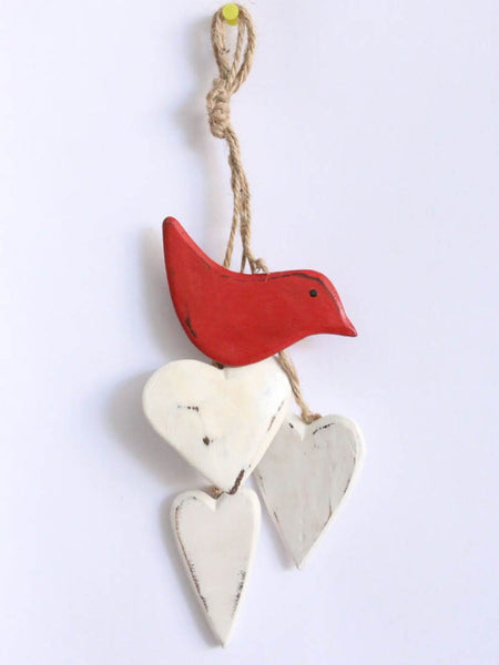 Hanging Heart and Bird Red bird, white heart